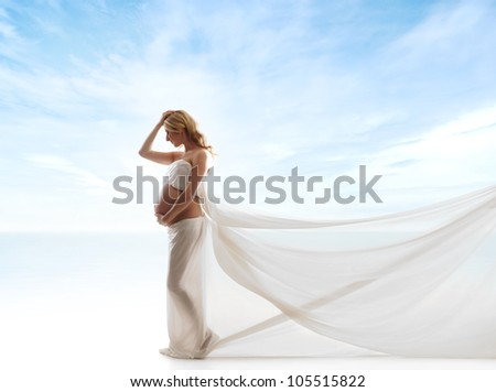 Young attractive pregnant woman over sky background - stock photo