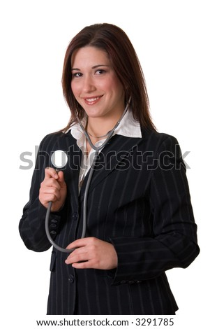 young attractive smiling brunette woman with stethoscope; isolated on white background - stock photo