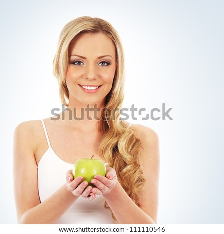 Young attractive sporty woman  isolated over white background - stock photo