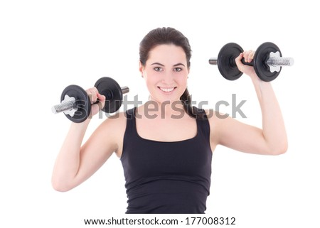 young attractive sporty woman with dumbbells isolated on white background
