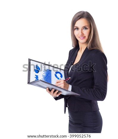 Young, attractive, successful business woman, studies the charts and diagrame Finance company.