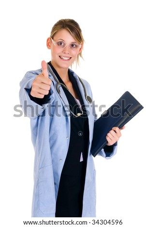 Young attractive successful female doctor.  studio shot, white background