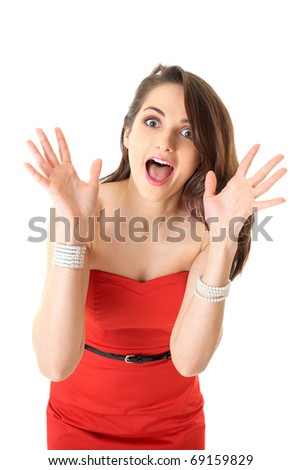 young attractive surprised female in red strapless dress, studio shoot isolated on white - stock photo