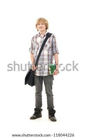Young attractive teenage boy isolated on white - stock photo