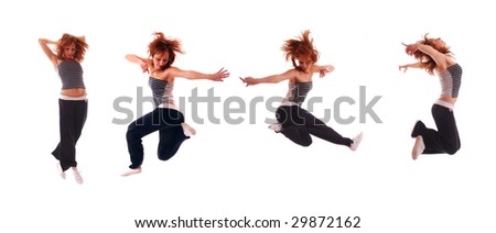 Young attractive teenage jumping over isolated white background