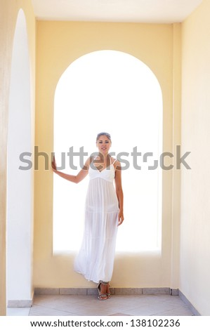 Young attractive woman chilling at the tourist resort - stock photo
