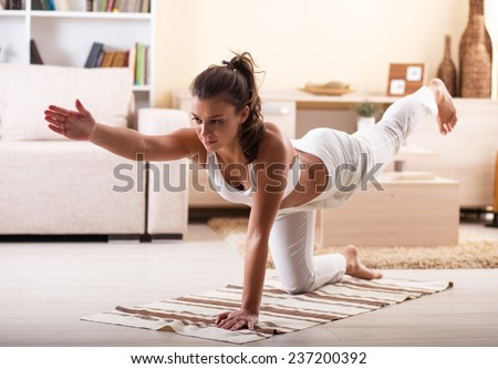 Young Attractive Female Doing Yoga Her Stock Photo 244187281 ...