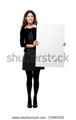 Young attractive woman holding blank sign