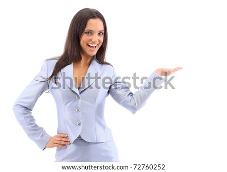 Young attractive woman holds palm for blank ad space - stock photo