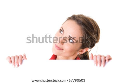 young attractive woman holds white board, ready for Your text, studio shoot isolated on white - stock photo