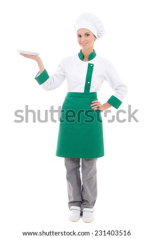 young attractive woman in chef uniform with empty plate - full length isolated on white background - stock photo