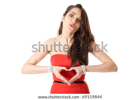 young attractive woman in romantic mood, heart shaped hands, isolated on white - stock photo