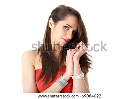 young attractive woman in romantic mood, studio shoot isolated on white - stock photo