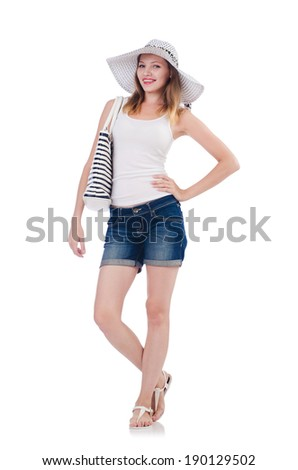 Young attractive woman in summer vacation isolated on white - stock photo