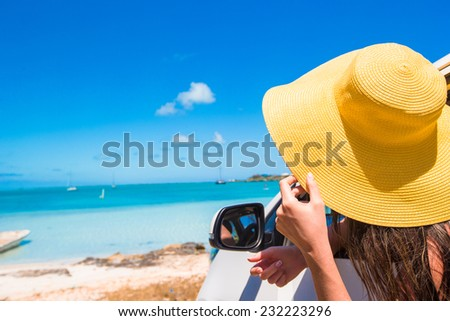 Young attractive woman in the car - stock photo