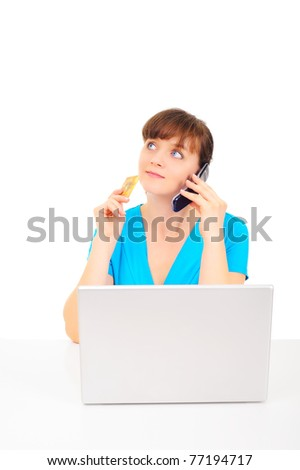 Young attractive woman is shipping online - stock photo