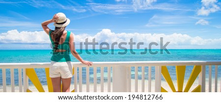 Young attractive woman on the seashore during summer vacation - stock photo