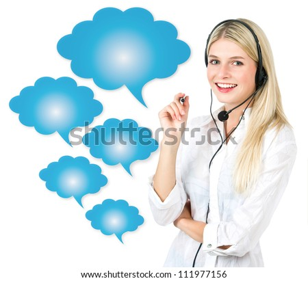 young attractive woman with speech cloud bubbles. communication concept - stock photo