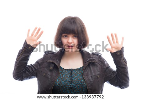 Young attractive women show STOP - stock photo