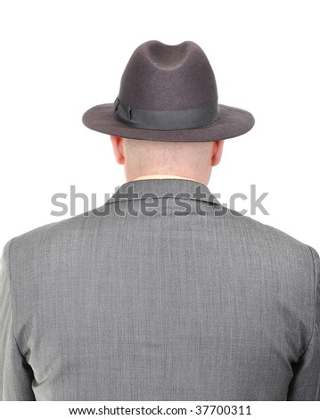 Young bald businessman from his back - stock photo