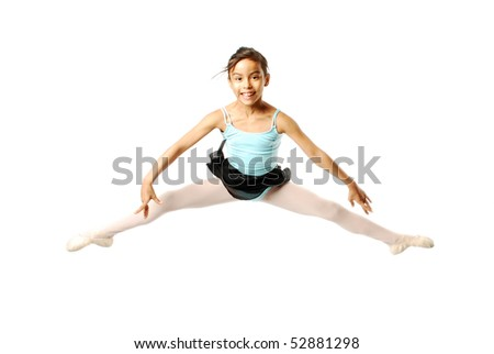 Young Ballerina jumping on white background