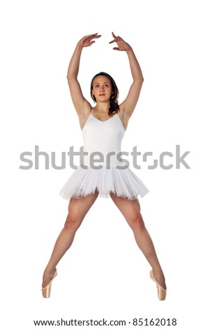 Young ballerina warming up and stretching before a ballet performance