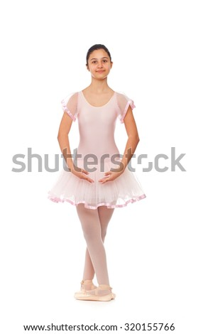 Young ballet dancer isolated on white background