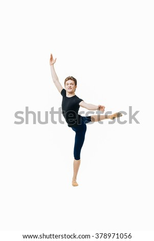young ballet dancer performing complex elements on a white background