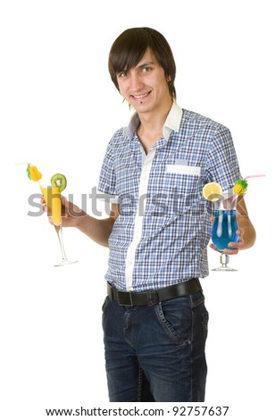 Young bartender with alcohol cocktail drink isolated on white background - stock photo