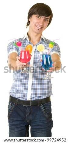 Young bartender with alcohol cocktail isolated on white background - stock photo