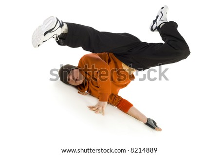 Young bboy holding up on arms and head. Holding legs in air. Looking at camera. Isolated on white in studio. Front view, whole body - stock photo