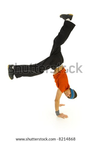 Young bboy standing on hands. Holding legs in air. Smiling and looking at camera. Isolated on white in studio. Side view, whole body - stock photo
