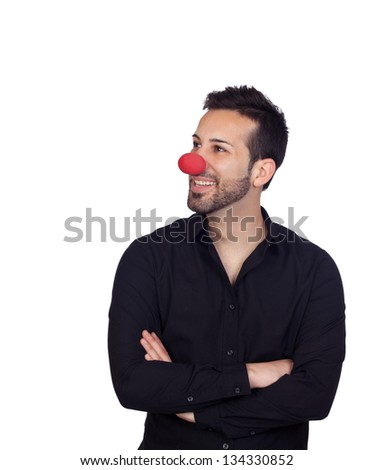 Young bearded businessman with clown nose isolated on white background - stock photo