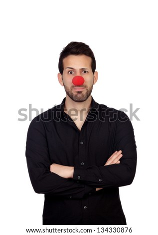 Young bearded businessman with clown nose isolated on white background