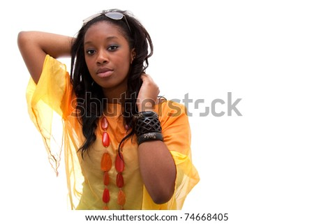 Young beautiful  african american woman looking