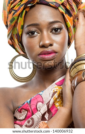 Young beautiful african fashion model on white background. - stock photo