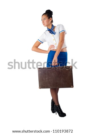 Young beautiful air hostess - stock photo