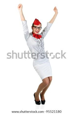 young beautiful air hostess - stock photo