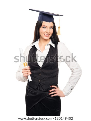 Young, beautiful and happy graduate girl holding degree diploma and smiling isolated on white - stock photo