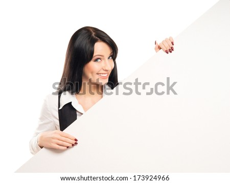 Young, beautiful and happy graduate girl with a blank banner isolated on white - stock photo