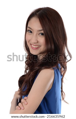 Young Beautiful Asian Woman Smile with arms crossed  - stock photo