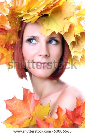 young beautiful autumn-girl - stock photo