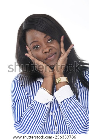 young beautiful black African American ethnicity woman posing happy looking at camera smiling isolated on white background in corporate business portrait - stock photo