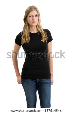 Young beautiful blond female posing with a blank black t-shirt. Ready for your design or artwork. - stock photo