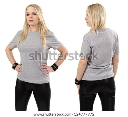 Young beautiful blond female posing with a blank gray t-shirt, front and back view. Ready for your design or artwork.