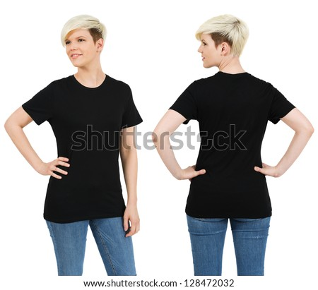 Young beautiful blond female with blank black shirt, front and back. Ready for your design or artwork. - stock photo