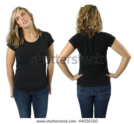 Young beautiful blond female with blank black shirt, front and back. Ready for your design or logo.