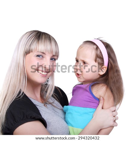 young beautiful blond girl with her cute little daughter