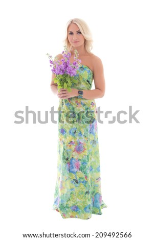 young beautiful blond in dress with summer flowers isolated on white background