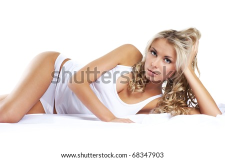 YOUNG BEAUTIFUL BLOND OVER WHITE BLANKET